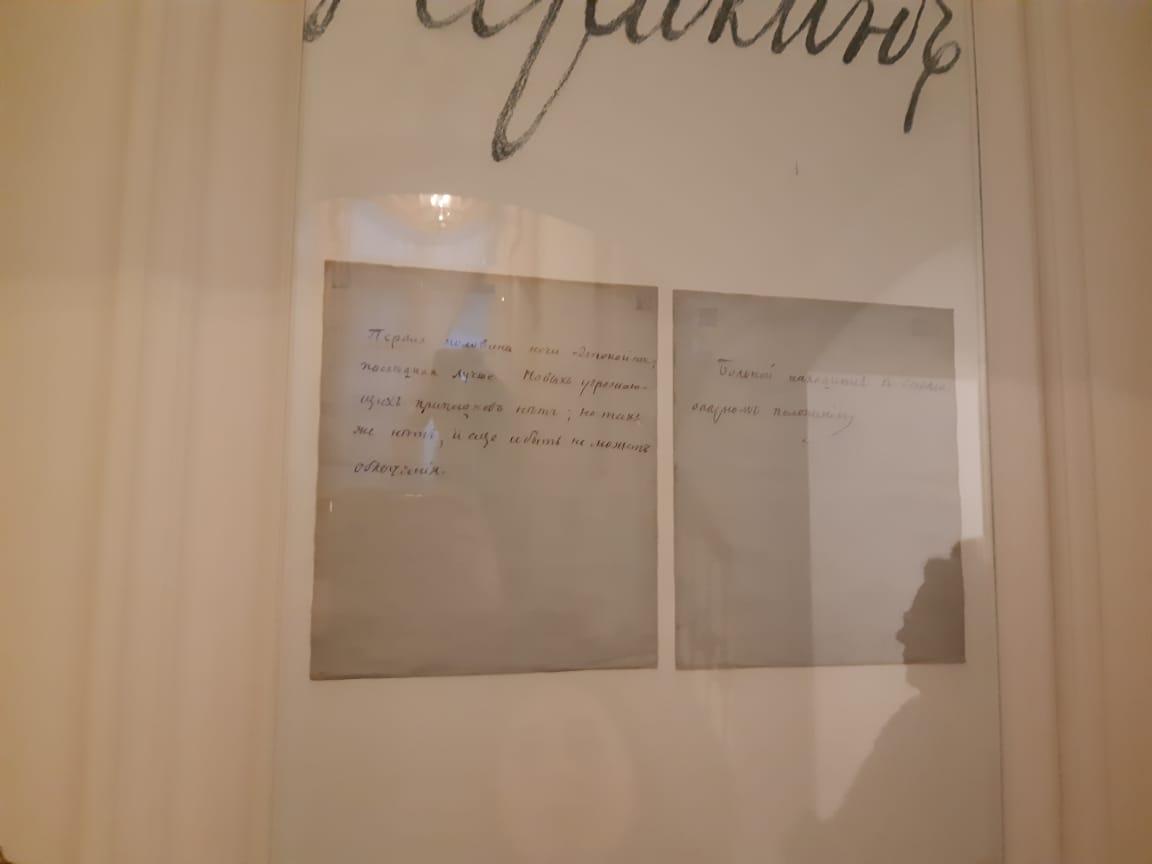 Два отчета о состоянии Пушкина вывешенные на двери