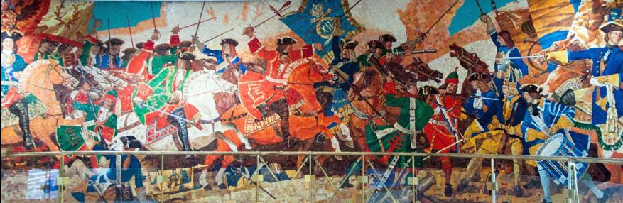 Самое большое мозаичное панно Петербургского метрополитена длиной 20 метров